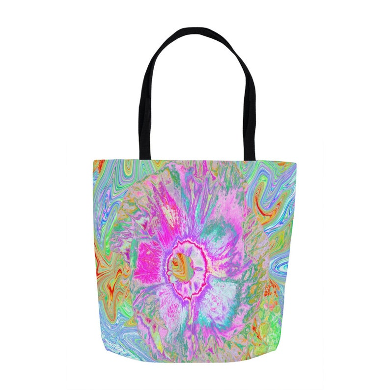 Beach Bag Shopping Bag Psychedelic Hot Pink and Ultra-Violet Hibiscus Tote Bags for Women Fabric Bag Tote Bag