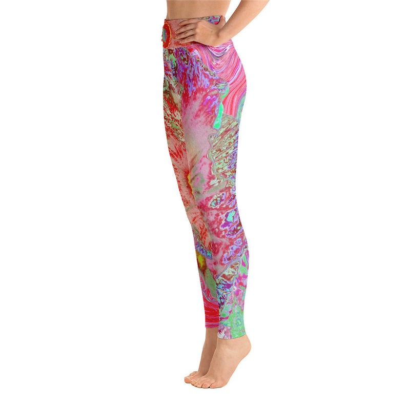 Leggings Yoga Leggings for Women High Waist Women\u2019s Fashion Workout Pants Psychedelic Retro Coral Rainbow Hibiscus