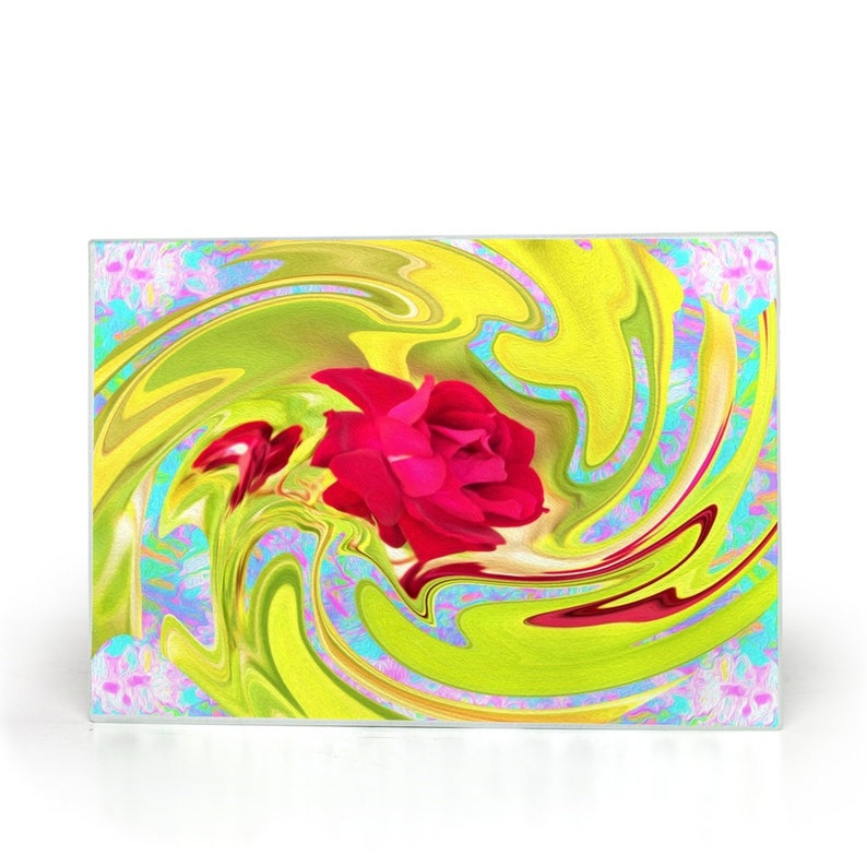 Food Prep Kitchen Decor Painted Red Rose On Yellow And Blue Abstract Baker Foodie Small Glass Cutting Board Cook Gift For The Chef