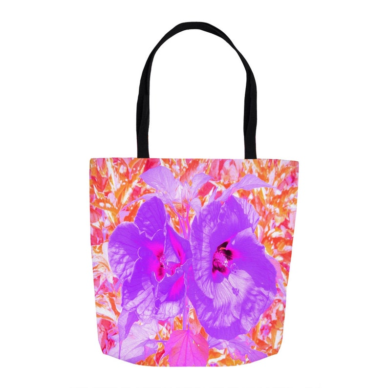 Farmers Market Shopping Bag Fabric Bag Tote Bag Custom Beach Bag Two Purple and Hot Pink Plum Crazy Hibiscus Tote Bags for Women