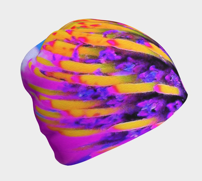Jogging and Yoga Hat Abstract Macro Hot Pink and Yellow Coneflower Hat for Women and Teen Girls Comfortable Stretchy Skull Cap Beanie