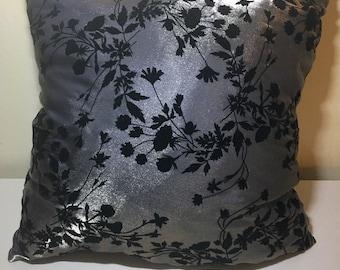 metallic floral pillow
