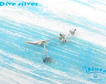 Diving silver-- 925 sterling silver Mini 3D Narwhal necklace / pendant / diving / handmade / Monodon monoceros / earrings