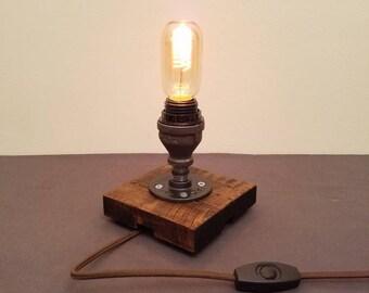 Black Pipe Desk Lamp   Table Lamp   Edison Bulb Lamp   Industrial Pipe Lamp    Small Desk Lamp   Dorm Room Gift   Rustic Home Decor