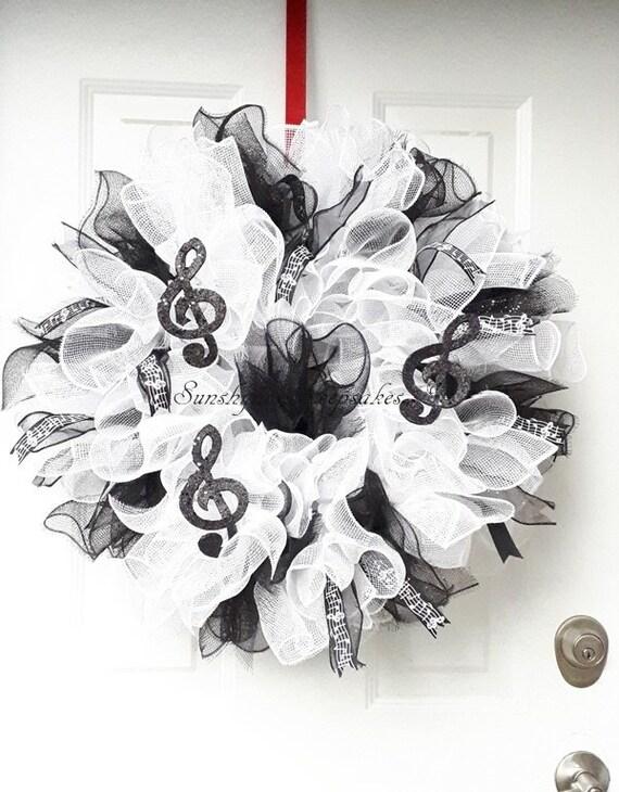Noir Et Blanc Note De Musique Couronne Fait Main Couronne De