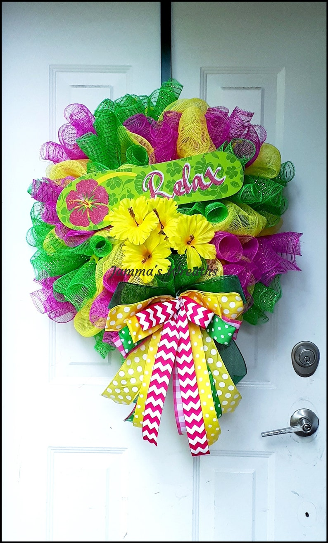 Tropical Summer Relaxation Deco Mesh Door Wreath Home Decor {Handmade}