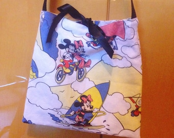 Cute Handmade Mickey Mouse Disney Totebag from Vintage Fabric