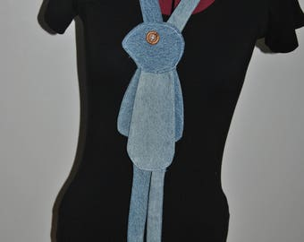 Bunny Tie/ Necklace from upcycled Jeans