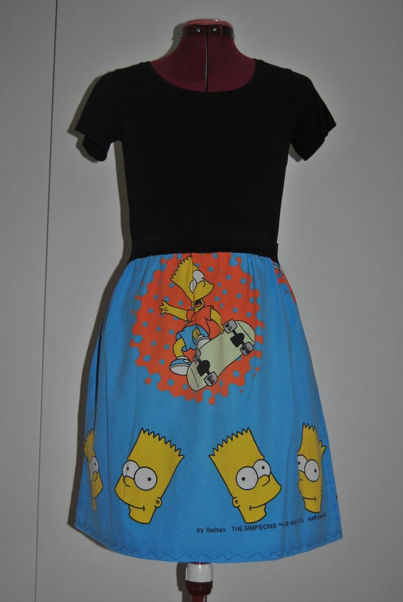 Fun A Line Skirt With A Totally Rad Bart Simpson Skater Print Etsy