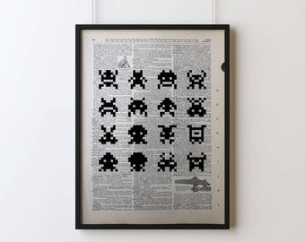 8-Bit Invaders Poster, Screen Printed Dictionary Art, Vintage Dictionary Print, Art Print, Wall Decor, Video Game Print, Screen Print Poster