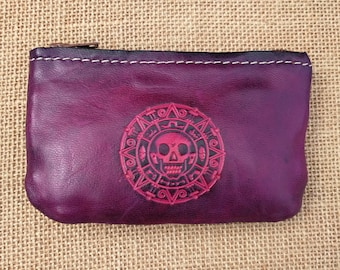 Small coin purse, wallet small purse, worn leather, Pirate, Steampunk, Cthulhu, skull, Skull, Kraken, Goth