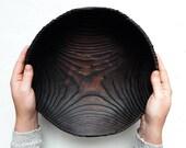 Big round wooden bowl Carved from natural charred wood Shou sugi ban handmade Wabi sabi decorative bowl Rustic farmhouse bowl Wood dish