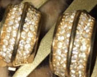 Vintage Rhinestone Clip Earrings, Signed