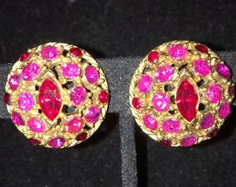 Vintage Pretty In Pink Bling Clip Earrings