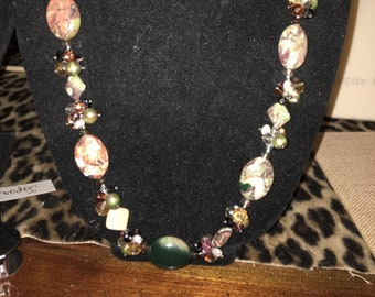 Goregous Semi Precious and Crystals Extra Long Necklace