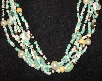 Vintage Multi Strand Seed Bead and Pearl Necklace