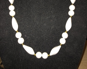 Vintage White Beaded Necklace with Goldtone Accents