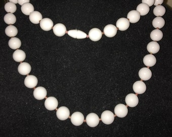 Vintage Acrylic White Beaded Necklace with Goldtone Accents