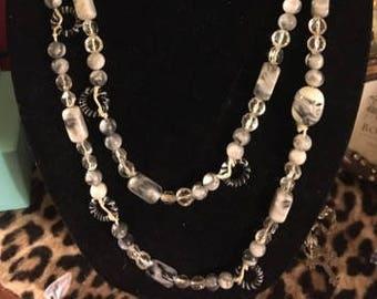 Vintage Long Funky Blacks/Grays/White Necklace