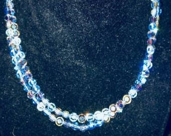 Vintage  Multi Strand Crystal Necklace