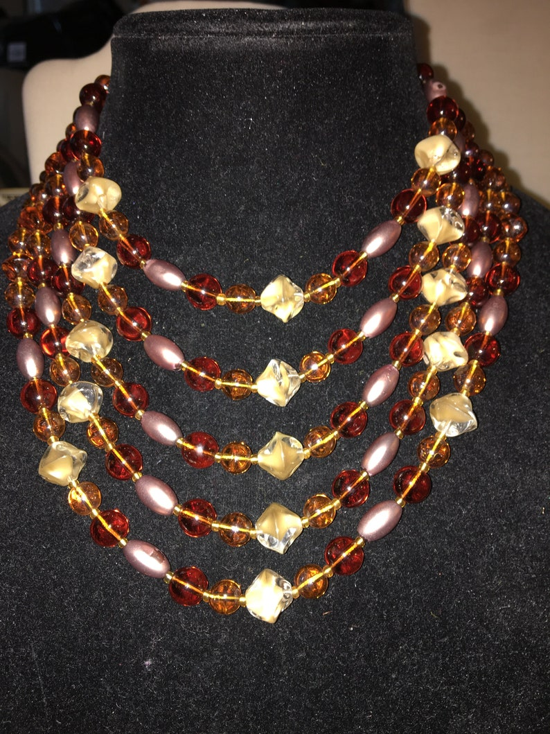 Vintage Multi Strand Brown Creme and Matt Gold Glass Beads Signed Western Germany*