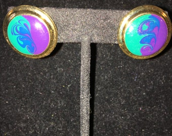 Vintage Turquoise and Purple Swirled Pierced Earrings