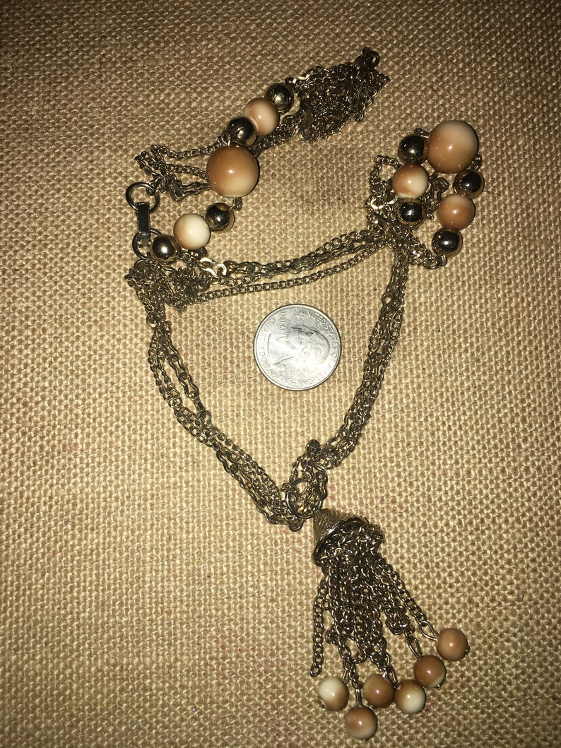 Vintage Silver Tone Chain Necklace With Tan and Silver Tone Bead Tassel Necklace*