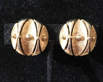 Vintage Goldtone Clip Earrings, Signed
