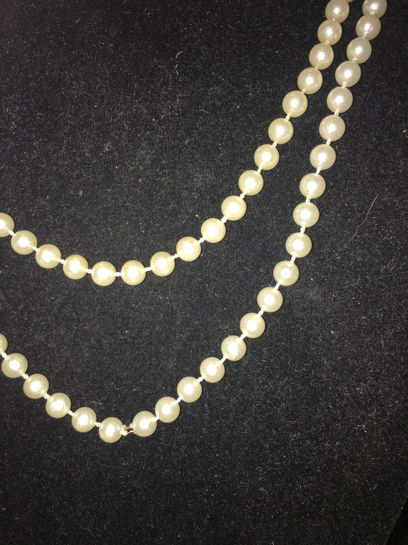 Vintage Super Long Flapper OR Opera White Pearl Beaded Necklace##*