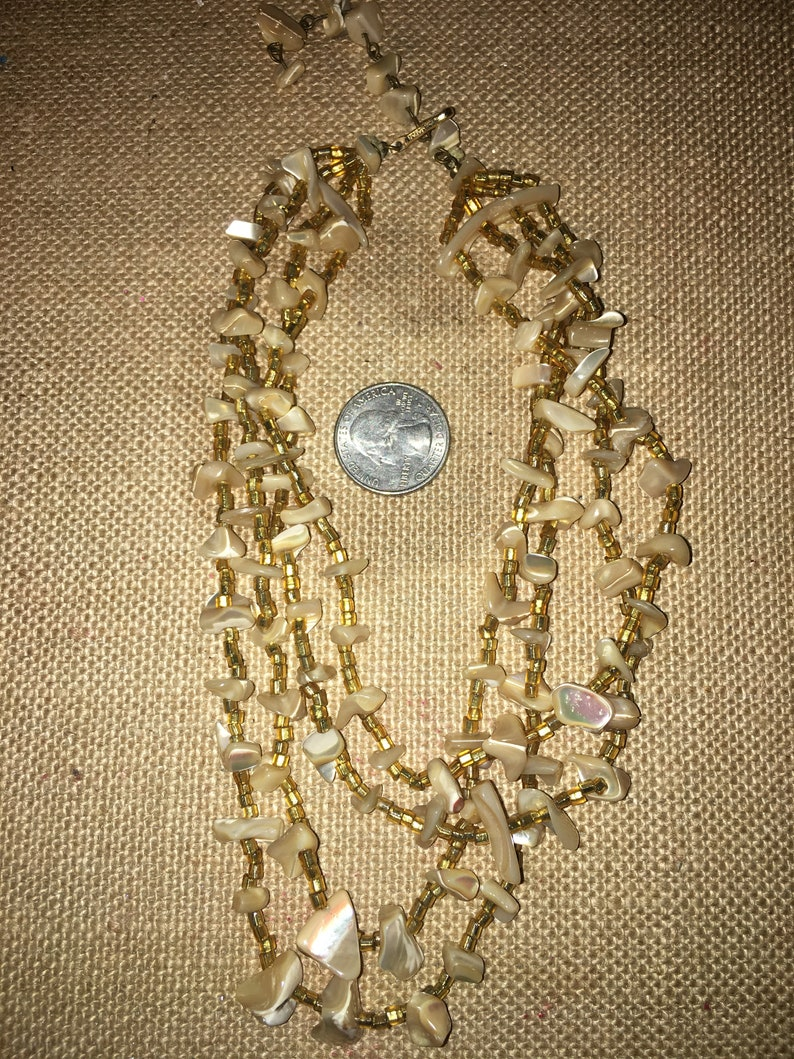 Vintage Mother of Pearl Chip Necklace With Matching Clip Earrings Signed Japan*