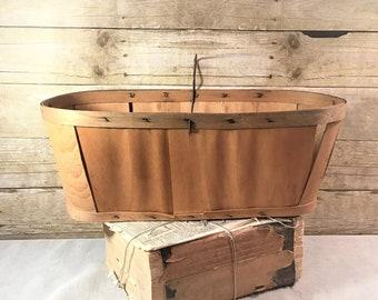 Vintage Slat Wood Produce Basket, Concord Grapes