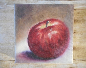 Small Original Oil Painting, Apple