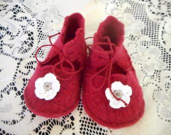 Felt Wool Baby Booties, Wine Red