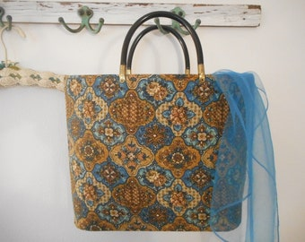 Vintage Handbag, Carry All, Tote, book Bag