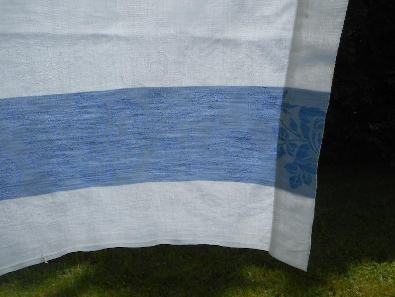dust blue rose trim Vintage Damask Tablecloth