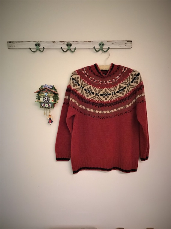 Fair Isle Red Wool Sweater