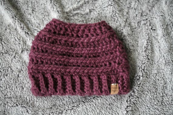Beehive Messy Bun Hat Fig  c1ad01dc39a