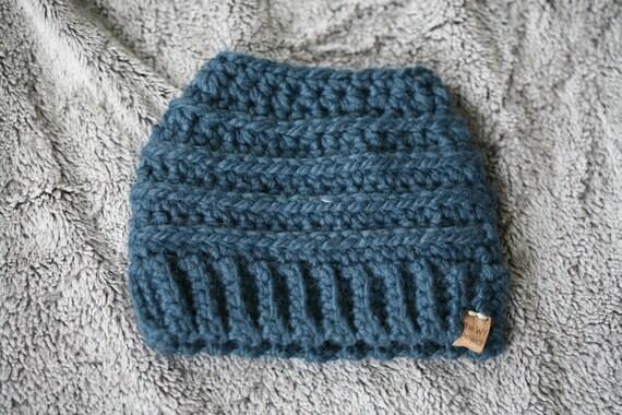 Beehive Messy Bun Hat Denim Blue  c41523725d4