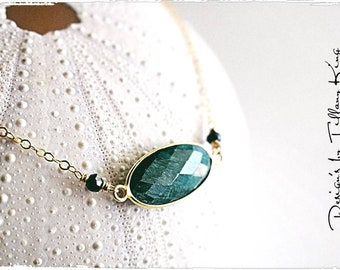Emerald necklace, Chalcedony charm necklace, necklace