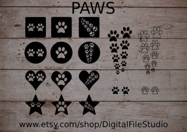 18 piece Paw Prints SVG, Silhouette, Cricut, Cameo svg dxf pdf png vector  graphic icon illustration, Animal Tracks Die Cut Files