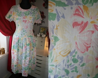 95493c0aa54 Ladies true vintage pastel drop waist back tie summer dress size 12 14