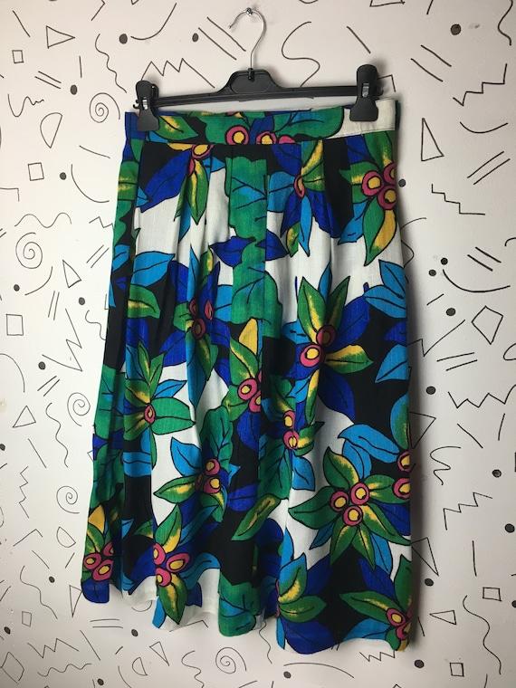 True vintage 1980s bold bright floral midi skirt s
