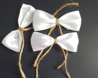 50 pcs satin and burlap bow tie