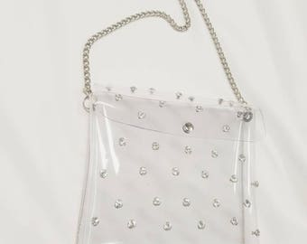 clear shoulder handbag with rhinestones