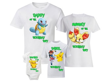 2ab754ae Pokemon Birthday Shirts Family Pokemon T-Shirt Pokemon Shirts Pokemon  Birthday Charmander Squirtle Pikachu Raichu