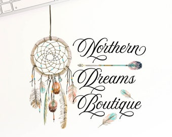 Dreamcatcher Logo, Script Logo, Round Logo, Photography Logo, Feather Logo, Tribal Logo, Native Logo, Business Branding, Boutique Logo