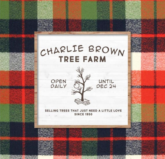 Christmas Tree Farm Southern California: Charlie Brown Christmas Tree Farm SVG Vector Sign Fixer