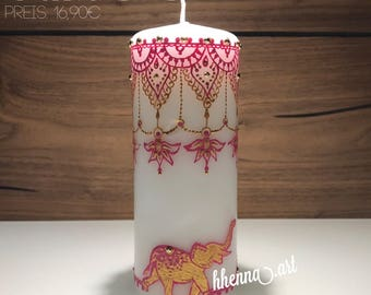 Henna candle India, personalized, 0006B