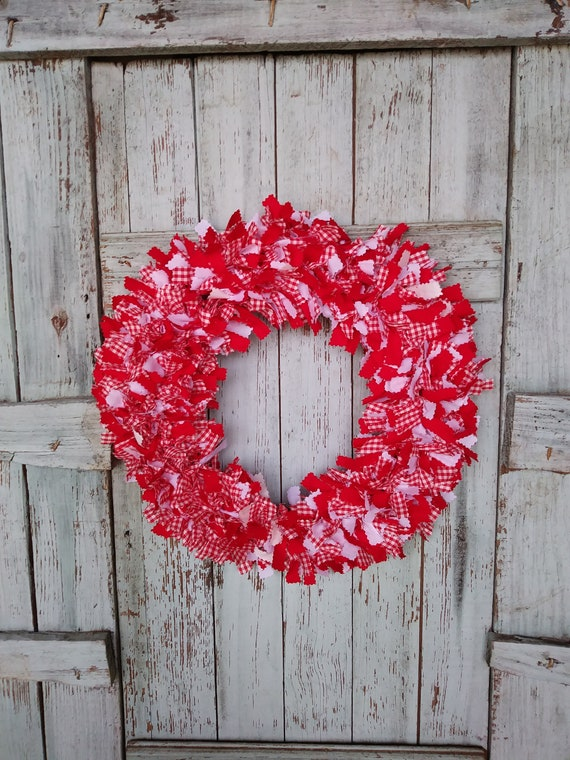 country door wreath farmhouse door wreath rag wreath material | Etsy
