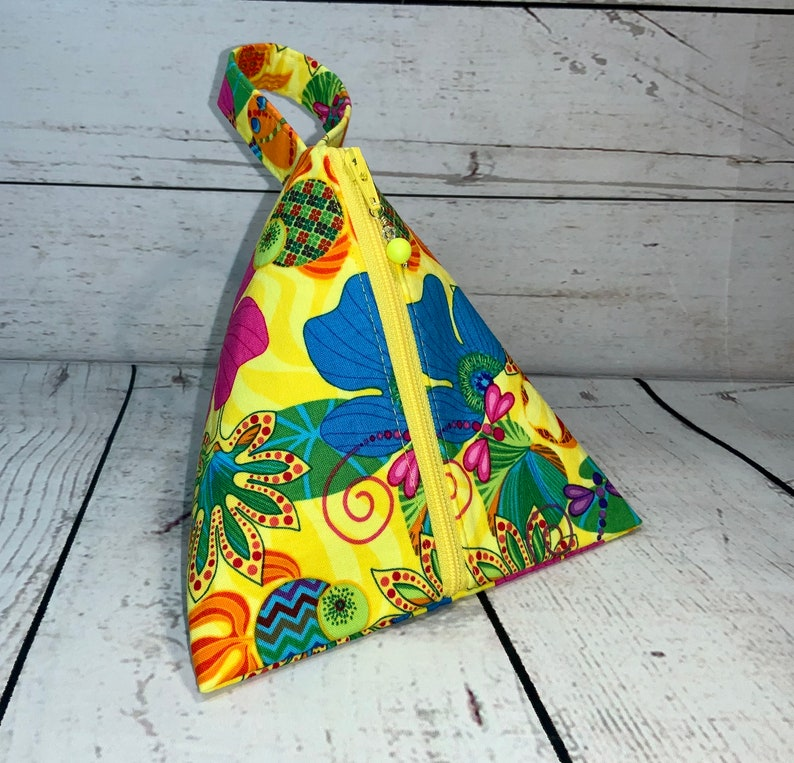 Happy Yellow Cube Pouch Triangle Pouch